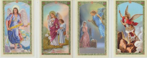 Saint Michael, Gabriel, Raphael and Uriel Set of 4 Archangels Holy Cards with He Lives Cross Bookmark