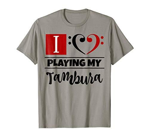 Double Black Red Bass Clef Heart I Love Playing My Tambura T-Shirt