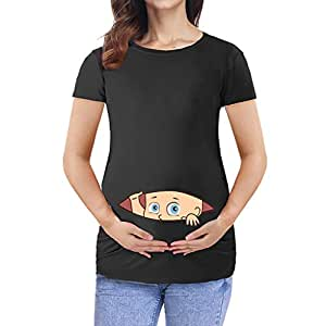 Maternity T-Shirt Maternity Clothing Breastfeeding Clothes Cartoon Pregnant Clothes Cotton Pregnancy Women Summer Tops (Size:L, Black)