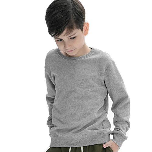 (Y·J Back home Kids Unisex Cotton Crewneck Sweatshirt Solid Color (Grey, 10T/11T (Height 55-59)