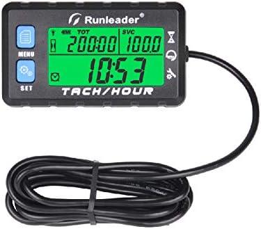 Runleader Hour Meter Tacómetro, recordatorio de mantenimiento, recordatorio de alerta de RPM, horas iniciales configurables, batería reemplazada por generador de cortacésped ATV marino (HM058B-BU)