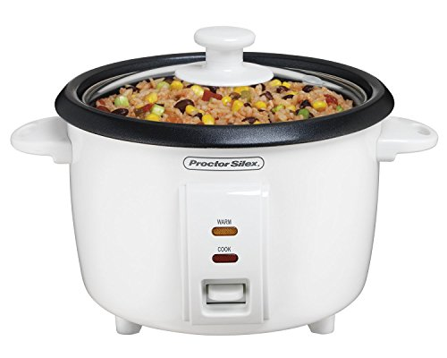 Proctor Silex Rice Cooker Food Steamer, 8 Cups Cooked, 4 Uncooked , White 37534NR