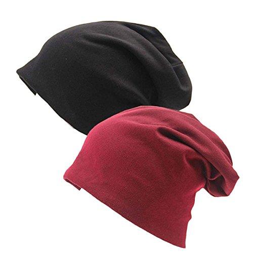 Cotton Stretch Beanie (Zando Women Men Baggy Soft Cotton Cap Slouchy Stretch Beanie Hat Warm Unisex Chemo Hats 2 Pack Black Winered One Size)