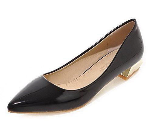 VogueZone009 Damen Ziehen auf Niedriger Lackleder Rein Spitz Zehe Pumps Schuhe Schwarz