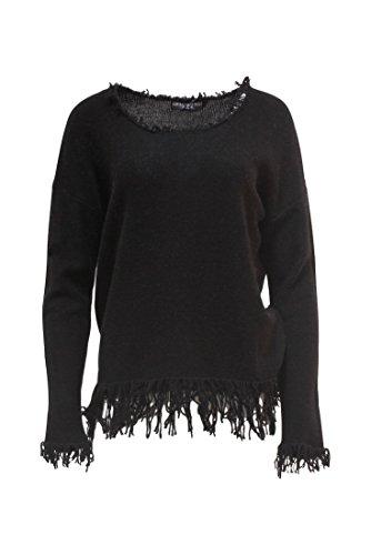 Central Park West - Fringe Scoop Neck Sweater - Black - S - Central Park Girl
