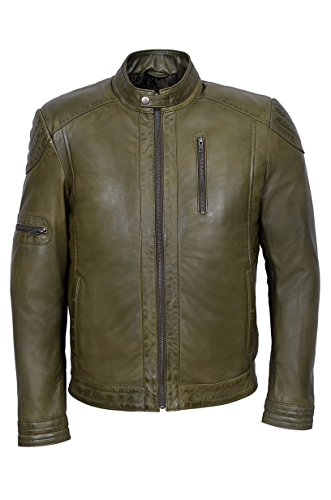 Paul Walker Style Men's M-137 Avocado Olive Green Soft Wax Casual Leather Jacket (XXL, Avocado Green)