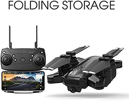 HR H2 WiFi RC Drone with 2K HD Wide Angle Camera Black RTF Smart Optical Flow Positioning Mode Gravity Sensor Gesture Control RC Quadcopter for Beginners with Altitude Hold