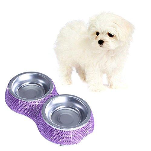 Soleebee Bling strass Haustier Hundefutter Wasser Futterspender Schüssel Doppelgebrauch Teller Lila