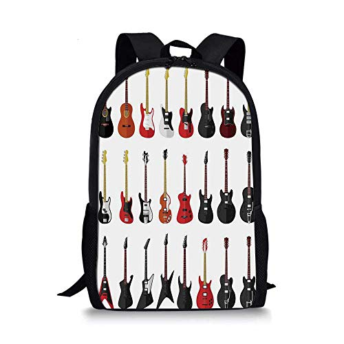 Guitar Stylish School Bag,Musical Instruments Set Pattern with Various Acoustic Bass Making Music Decorative for Boys,11''L x 5''W x 17''H