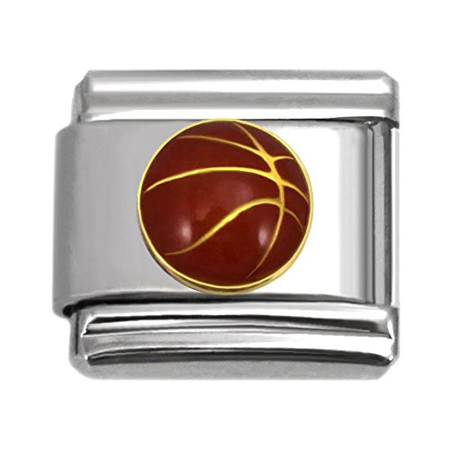 Your Pick Sports Theme Collection Italian Charms 9 mm Stainless Steel Bracelet Link - Charm Italian Basketball