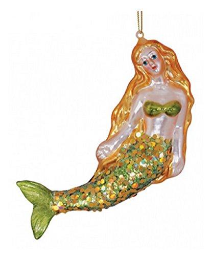 Blown Glass Mermaid Christmas Ornament