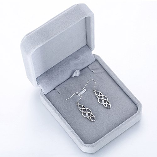 925 Silver Earrings Solid Sterling Silver Good Luck Irish Celtic Knot Vintage Dangles by LAIMALA (Image #5)