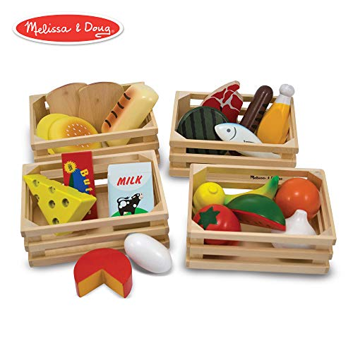 Melissa & Doug Food Groups - Wooden Play Food (Pretend Play, 21 Hand-Painted Wooden Pieces and 4 Crates)]()