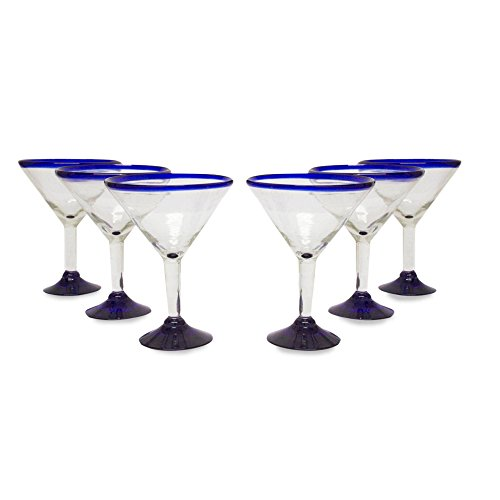 (NOVICA Hand Blown Clear Blue Recycled Glass Martini Glasses, 13 oz 'Cobalt Contrasts' (set of 6))