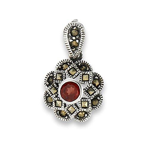 (Design Ornate Pendant Marcasite Simulated Garnet .925 Sterling Silver Charm - Silver Jewelry Accessories Key Chain Bracelet Necklace Pendants)