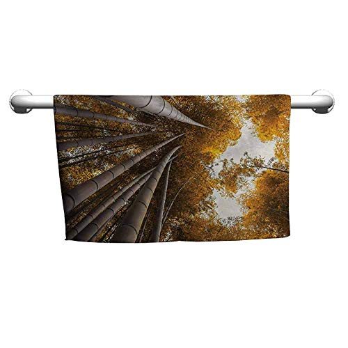 - duommhome Bamboo Soft Superfine Fiber Bath Towel Bottom to Top Bamboo Grove Fall Landscape Potential for Improvement Symbol Print W10 x L39 Yellow Brown