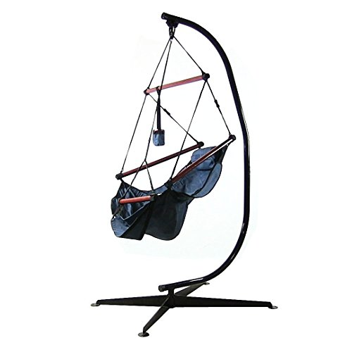 Sunnydaze Deluxe Hanging Hammock Air Chair with Pillow, Drink Holder, and C-Stand, Solid Wood Bars, 24 Inch Wide Seat, Max Weight: 250 Pounds, Blue