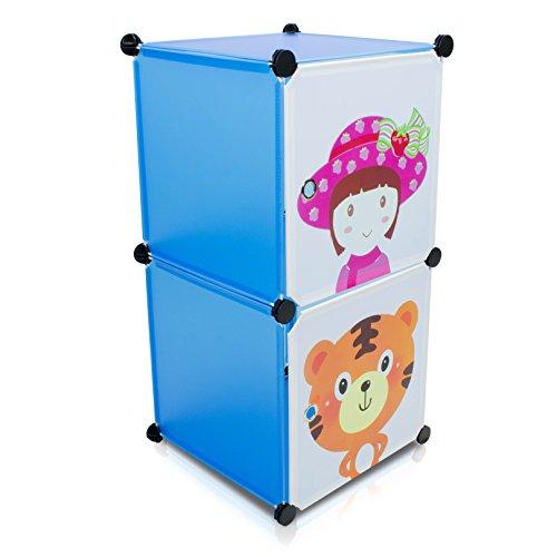 VENKON - Kinderzimmer Steckschrank Frei Gestaltbares DYI Steckregal System Regalschrank: 2-Module-Set, blau