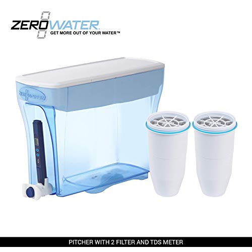 ZeroWater 23-Cup Pitcher with Replacement Filters and Water Quality Meter (with 2 Filter)