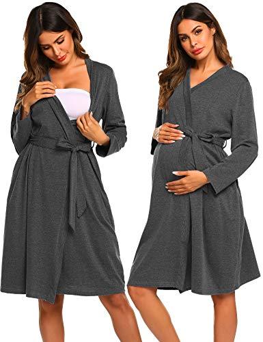 Ekouaer Womens Maternity Pregnancy Labor Robe Hospital Breastfeeding Gown