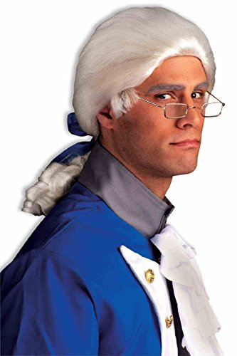 White Colonial Wig Unisex Barrister Franklin Men Historical Costume (Droopers Costume Wig)