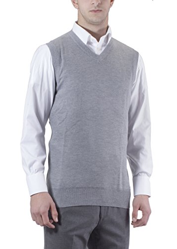 Alberto Cardinali Men's Solid Color V-Neck Sweater Vest SVS1 (XXXXX-Large, Light Gray)