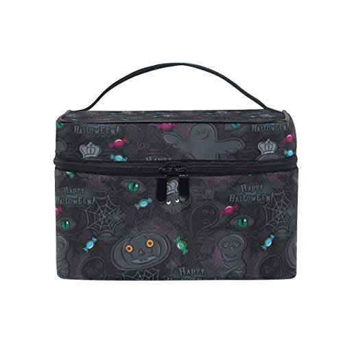 Travel Cosmetic Bag Halloween Ghost Skull Candy Toiletry Makeup Bag Pouch Tote Case Organizer Storage For Women Girls]()