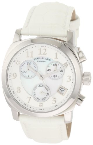 Stuhrling Original Women's 246.1115P7 Vogue Audrey Fiorenza Swiss Quartz Chronograph Swarovski Crystal Mother-Of-Pearl White - Crystal Audrey