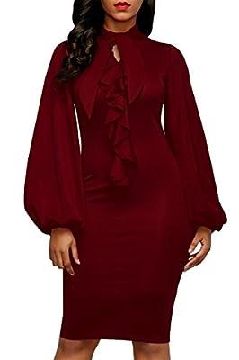 Pink Queen Women's Plain Lantern Sleeve Tie Neck Ruffle Party Bodycon Midi Dress