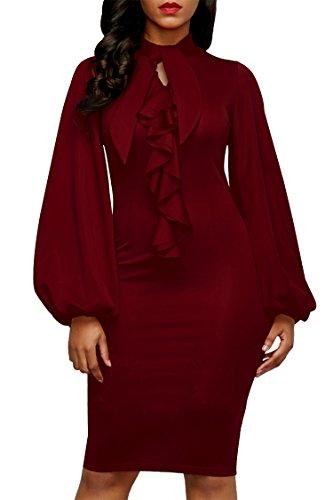 Pink Queen Womens Ruffle Keyhole Neck High Waist Bodycon Dress Knee Length Red L (Dress Front Ruffle)