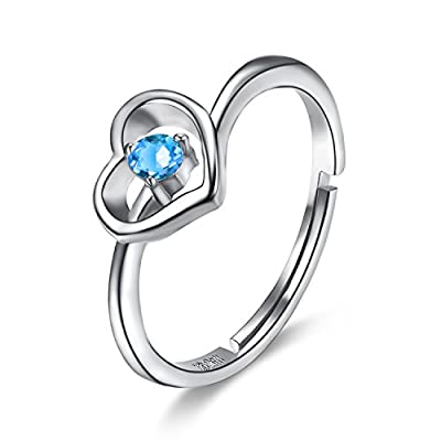 cheap BGTY 925 Sterling Silver Blue Ocean Cubic Zirconia Lady Girl Women Fashion Ring, Adjustable Size for cheap