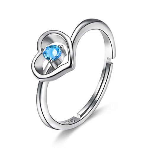 BGTY 925 Sterling Silver Blue Ocean Cubic Zirconia Lady Girl Women Fashion Ring, Adjustable Size