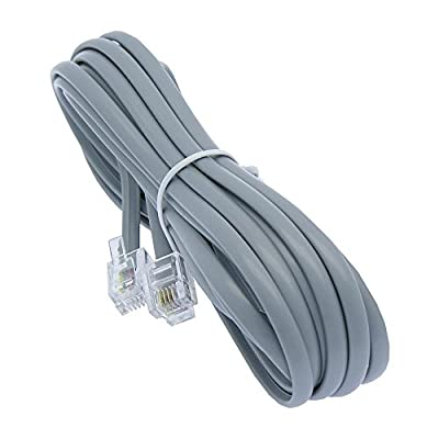 25ft Heavy Duty RJ11 / RJ14 Silver Satin 4 Conductor Telephone Line Cord By Corpco