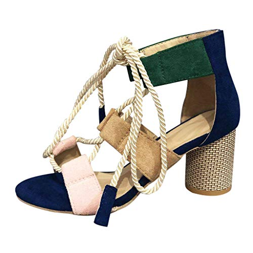 Newlyblouw 2019 New Women Fashion High Heel Sandals Ladies Summer Strappy Mixed Colors Chunky Heel Roman Shoes Sandals Dark Blue