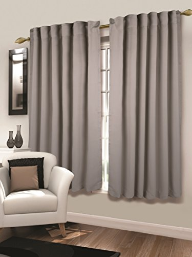Tailormader 2 Piece Top Thermal Insulated Blackout Curtain Heavy Duty Fabric 52″x63″ (Gray)
