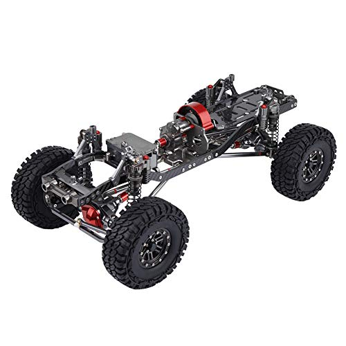 fosa RC Car Frame Kit, Aluminum Alloy Carbon Fiber CNC RC Rock Crawler Truck Frame Chassis 313mm with 12mm LED Light mounting, Suitable for Wildboar, Wrangler, GrandCherokee, Defender, Toyota, Hilux