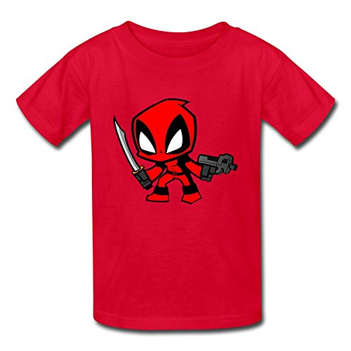 Price comparison product image AOPO Deadpool Wade Wilson T Shirts For Kids Unisex Medium Red