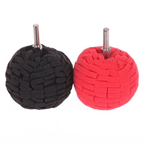 SPTA Red & Black 100mm Buffing Ball Finishing Buff Sanding Polishing Pads For Car Polishing Pack of 2 Pcs