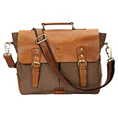 Rugged/Smudged Vintage Canvas Messenger Laptop Bag Crossbody Shoulder Carry on for Men Women School College Office Leather Messenger bag  Ideal for 13 inch Laptop, Macbook ,etc. Inner walls of the laptop compartment are padded to provide extr...