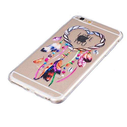 """Coque iPhone 7, IJIA Ultra-mince Transparent Carillons éoliens Coloré TPU Doux Silicone Bumper Case Cover Shell Housse Etui pour Apple iPhone 7 (4.7"""") + 24K Or Autocollant"""