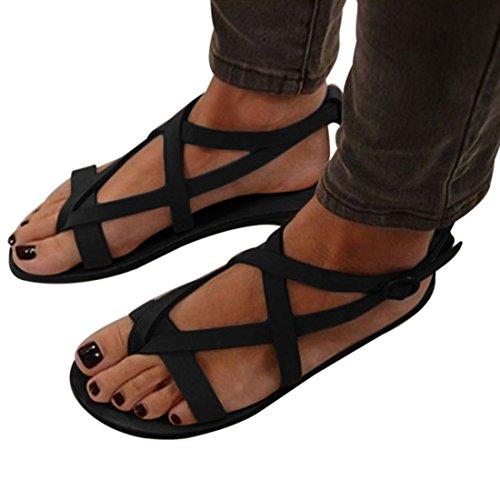 Taglia Caviglia 8 Romani Sandali Flop alla 2 Flat Flip Incrociate Cinghie Flop Fibbia Flip Sandali FRZ4wx