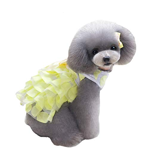 Petea Cute Pet Dress Wave Point Tutu Dog Cat Bowknot Dress Vest Apparel Skirt Clothes Pet Puppy Birthday Princess Dress…