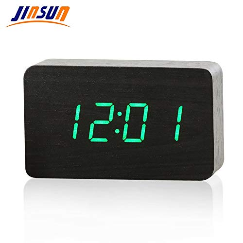 Amazon.com: Capcha-Shop - JINSUN Wood Bamboo LED Alarm Clock Reloj Despertador Modern Temperature Desk Clock LED Electronic Desktop Digital Table Clock: ...