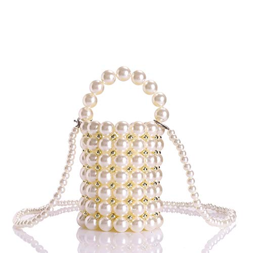 YIFEI Women Beaded Pearl Evening Bucket Handmade Bags with Detachable Chain for Wedding Party, Medium