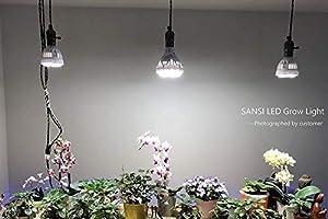 SANSI Led Cultivo Bombilla COB Espectro Completo 24W, Lampara Led Crecimiento para Planta Hidropónica Flores y Hortalizas en Grow box y Armario ...