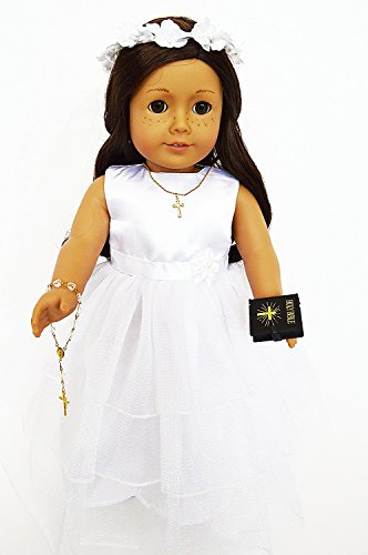 (My Brittany's 6 Piece Satin Tiered Communion Gown For American Girl Dolls with Rosary-Cross Necklace-Bible-Shoes -Veil)