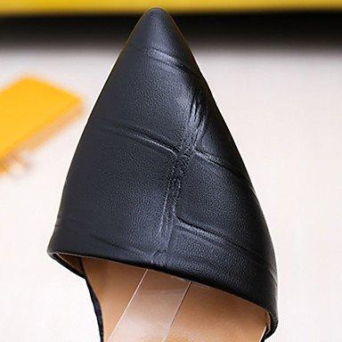 LvYuan Mujer Sandalias PU Primavera Verano Hebilla Combinación Tacón Stiletto Negro Amarillo Rojo 7'5 - 9'5 cms Black