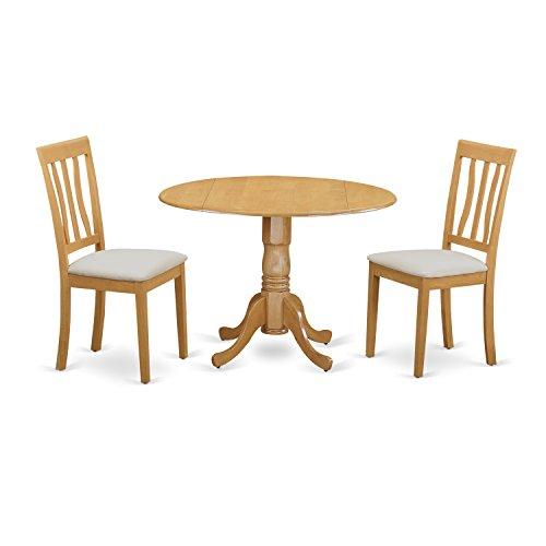East West Furniture DLAN3-OAK-C 3 Piece Kitchen Dinette Table and 2 Set