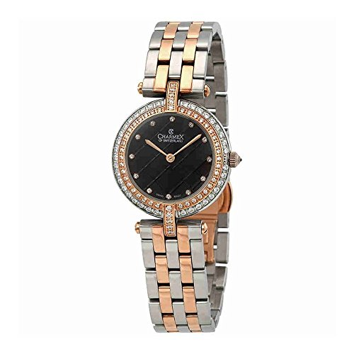 Charmex Crystal Black Dial Two-Tone Ladies Watch 6411