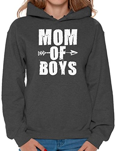 Awkward Styles Women's Mom of Boys Cute Motherhood Graphic Hoodie Tops White Mother's Day Charcoal L